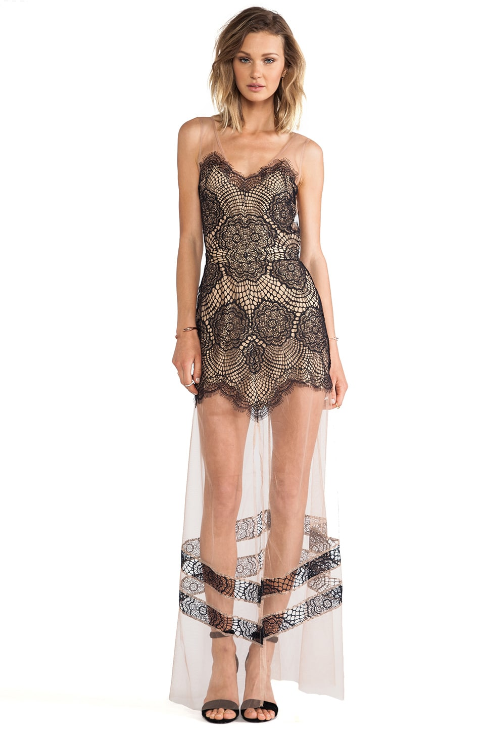 For Love & Lemons Antigua Maxi Dress in Black & Nude