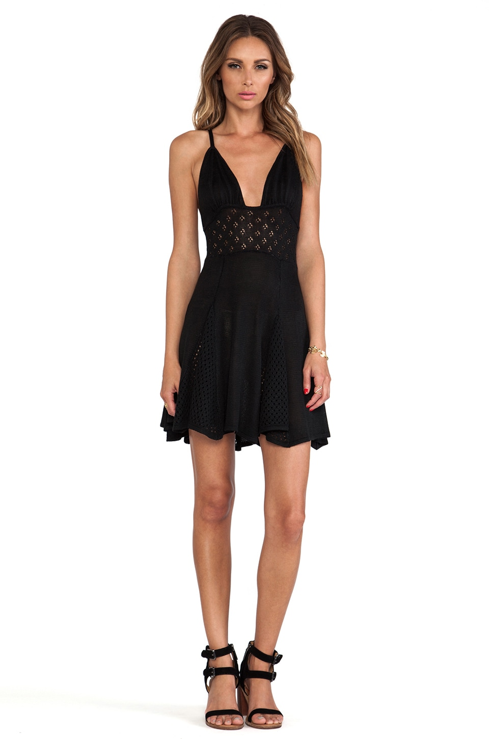 For Love & Lemons Dolly Knit Dress in Black