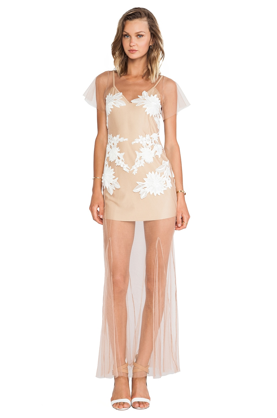 For Love & Lemons Balmy Nights Dress in Nude