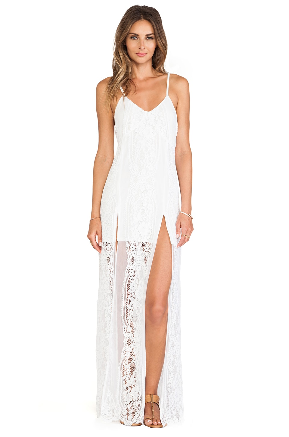 For Love & Lemons Long Horn Maxi Dress in Off White