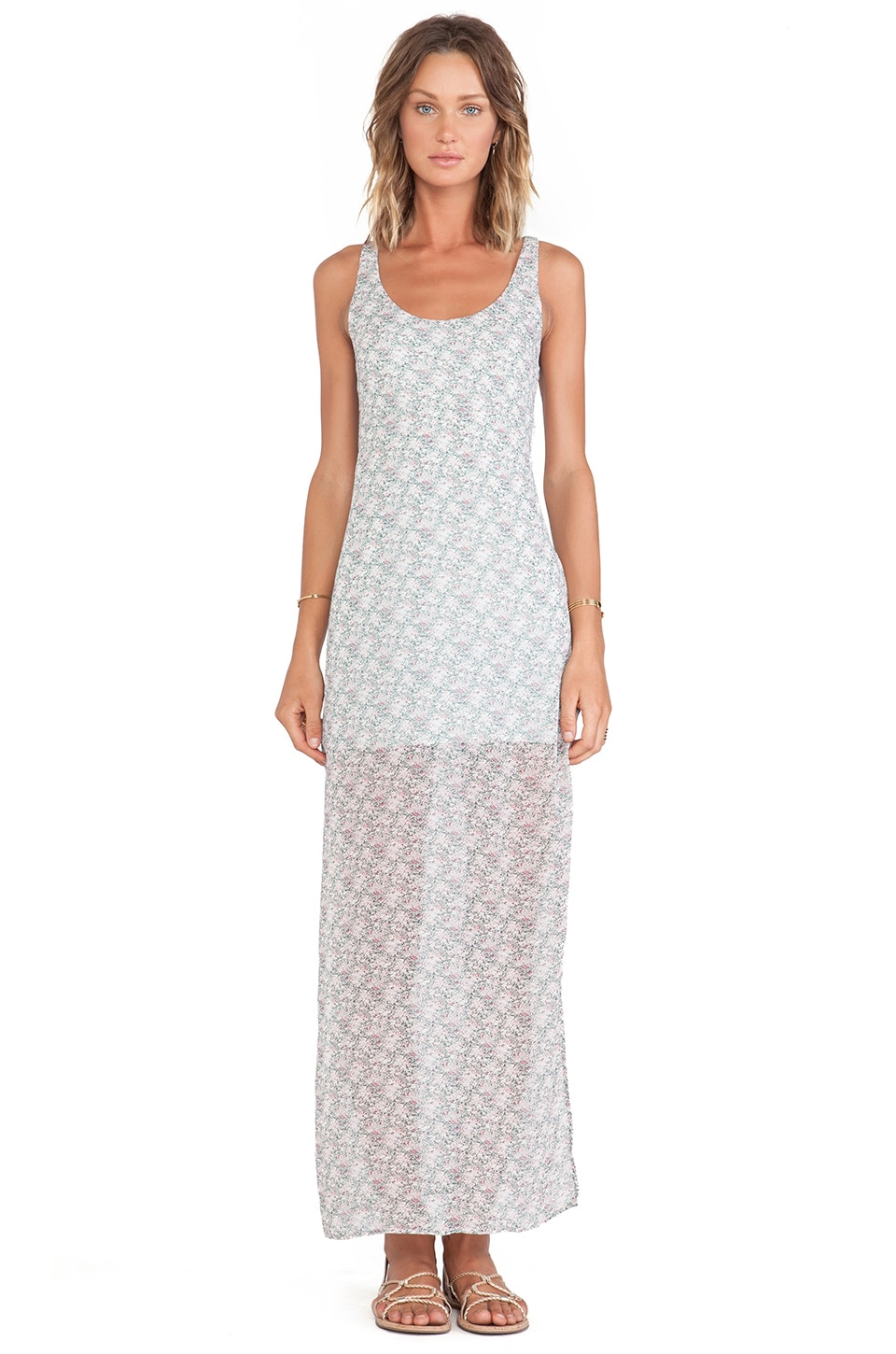 For Love & Lemons Midnight Cowgirl Maxi In Sage Floral