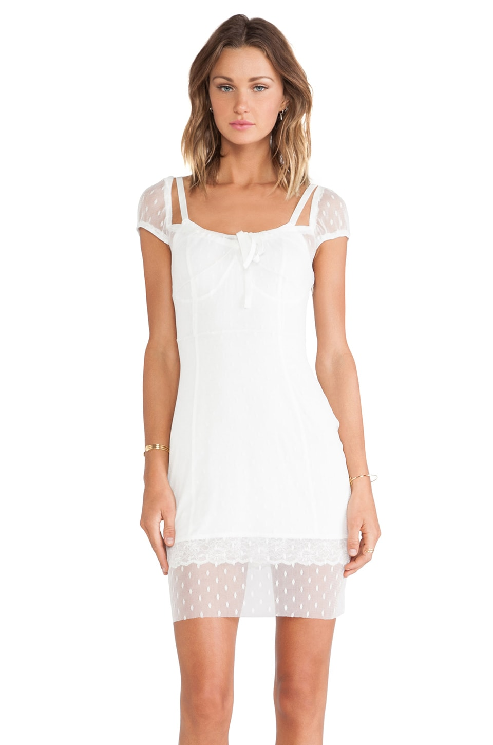 For Love & Lemons Lil' Darlin Polka Dress in White Dot