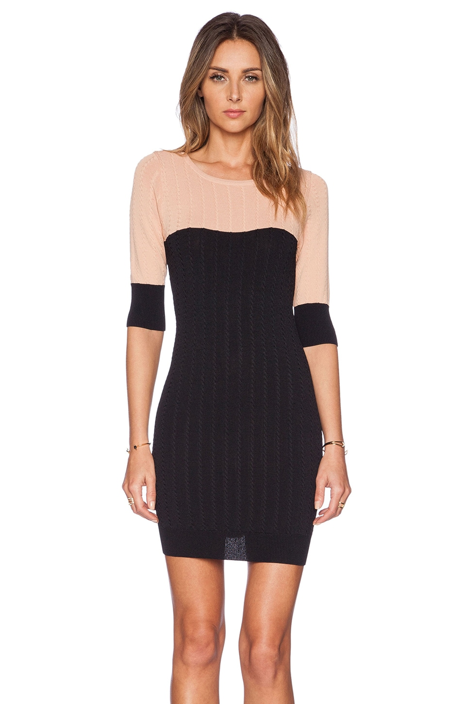 For Love & Lemons Colorblock Mini Dress in Blush & Black