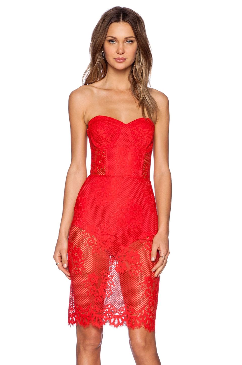 For Love & Lemons Garden Isle Dress in Cherry Red