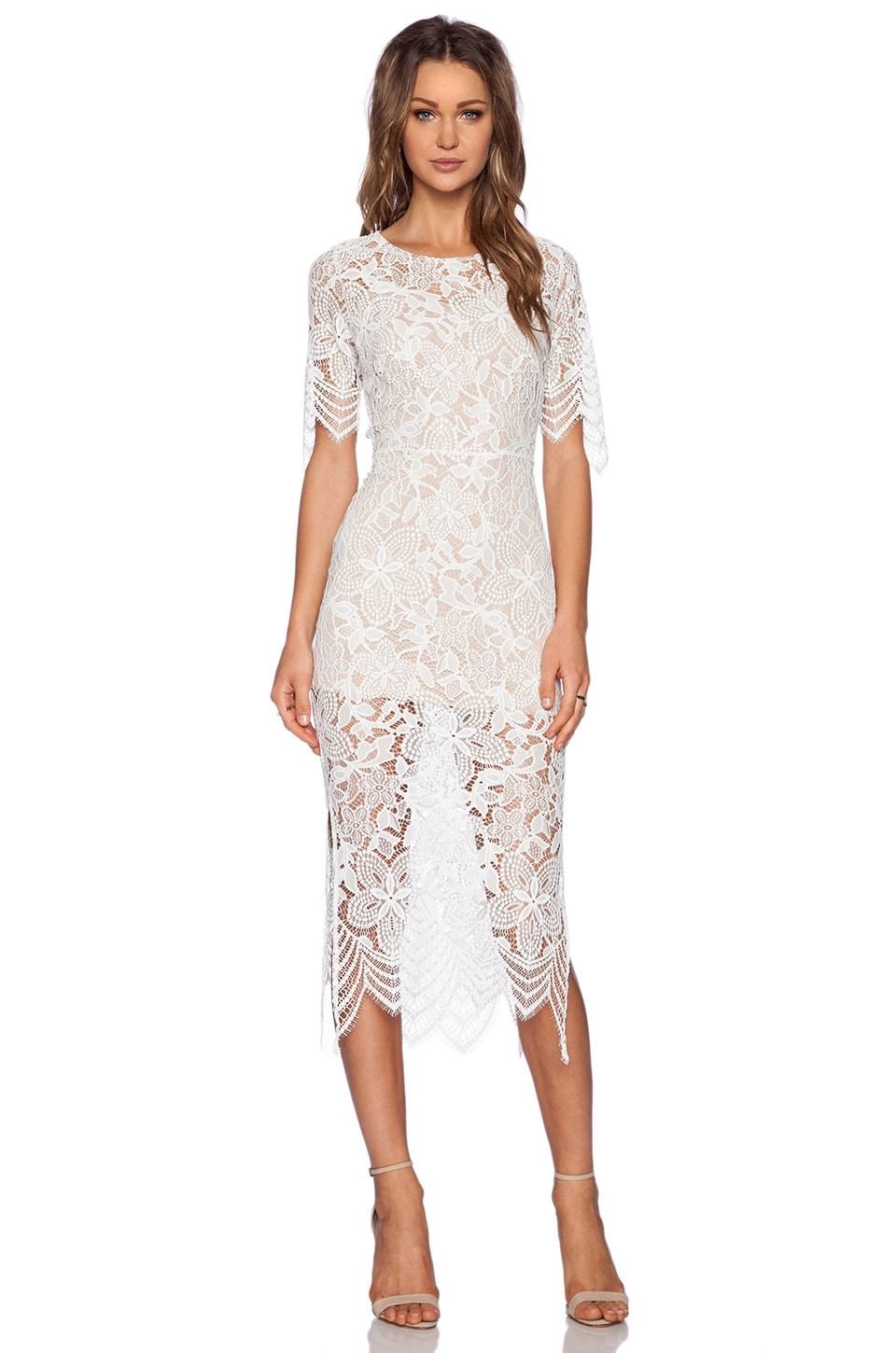 For Love & Lemons Luna Midi Dress in White