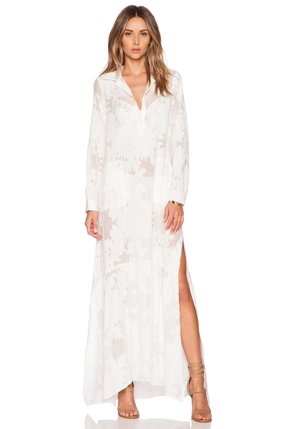 For Love & Lemons Breezy Maxi Dress in White