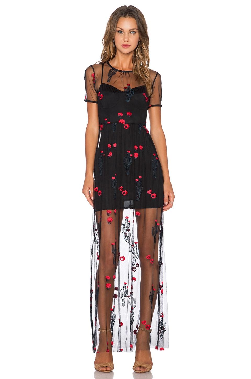 For Love & Lemons Desert Maxi Dress in Black