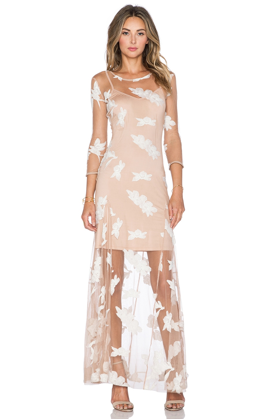 For Love & Lemons Orchid Maxi Dress in White & Nude