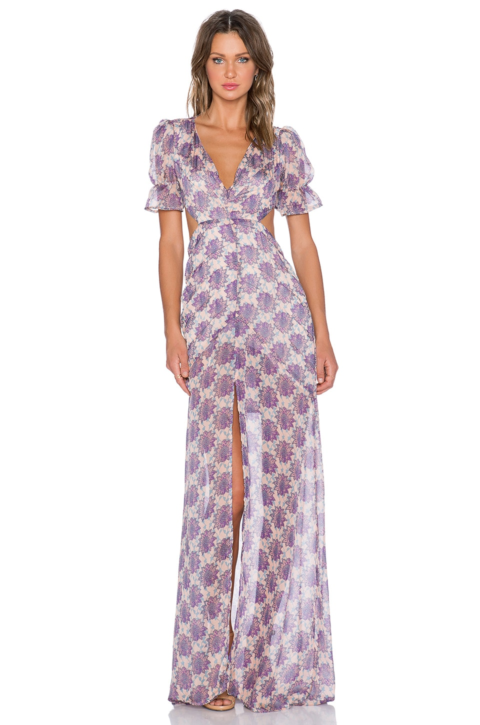 For Love & Lemons Clover Maxi Dress in Lilac Print