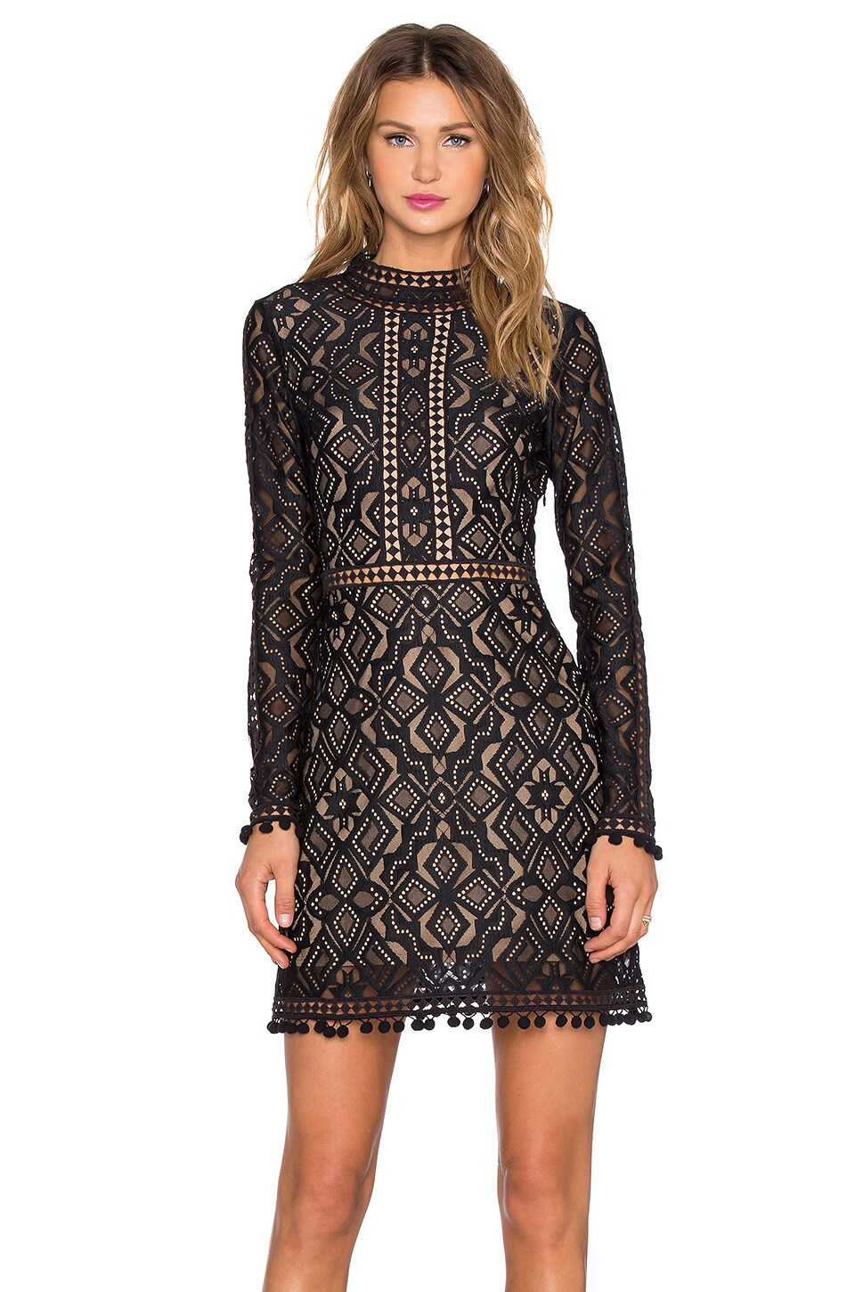 For Love & Lemons Florence Cocktail Dress in Black