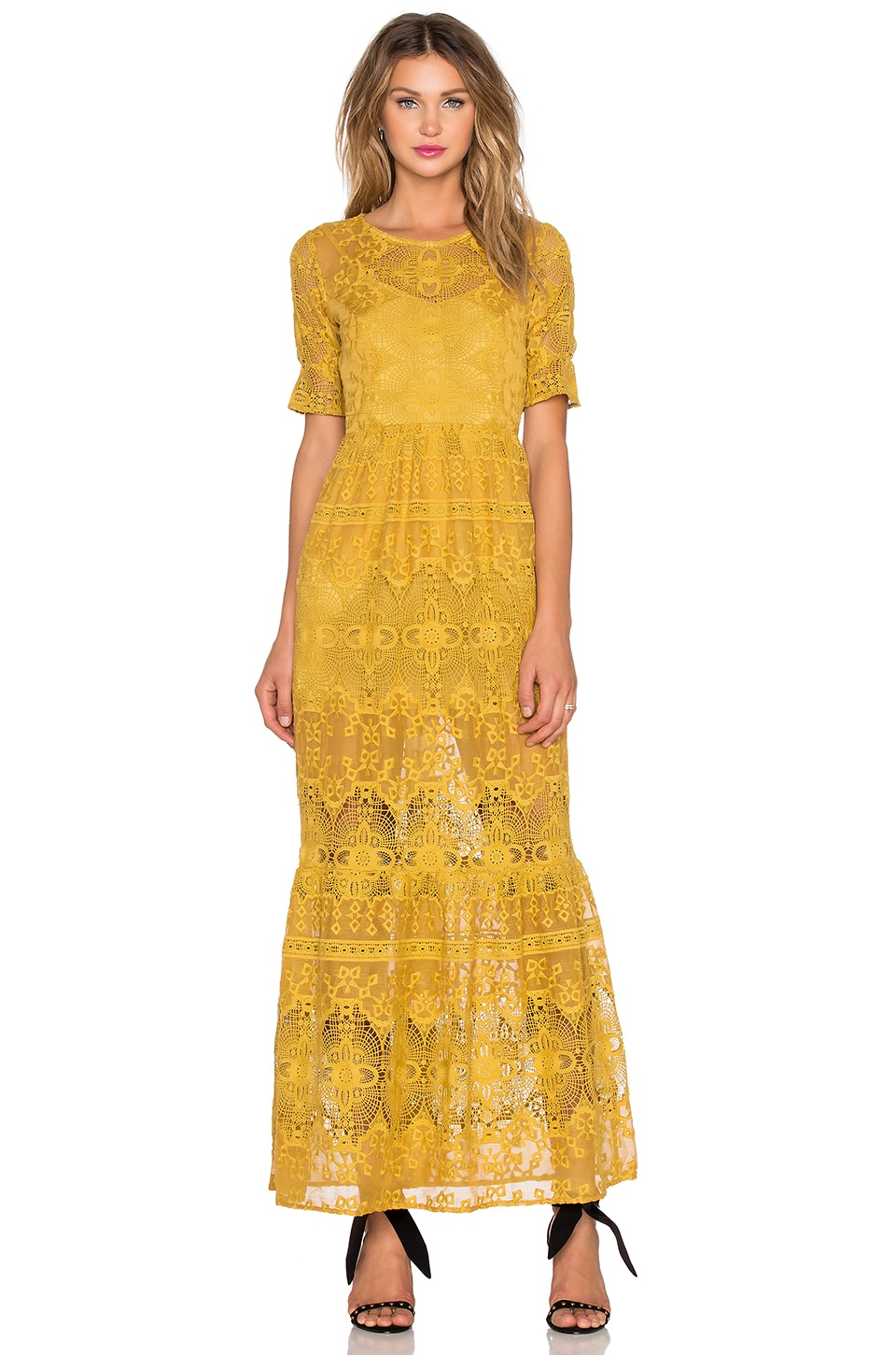 For Love & Lemons Siena Maxi Dress in Goldenrod