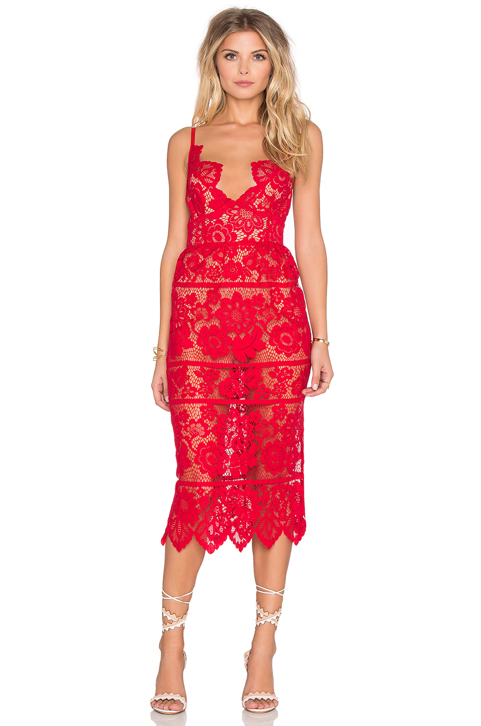 For Love & Lemons Gianna Dress in Hot Red