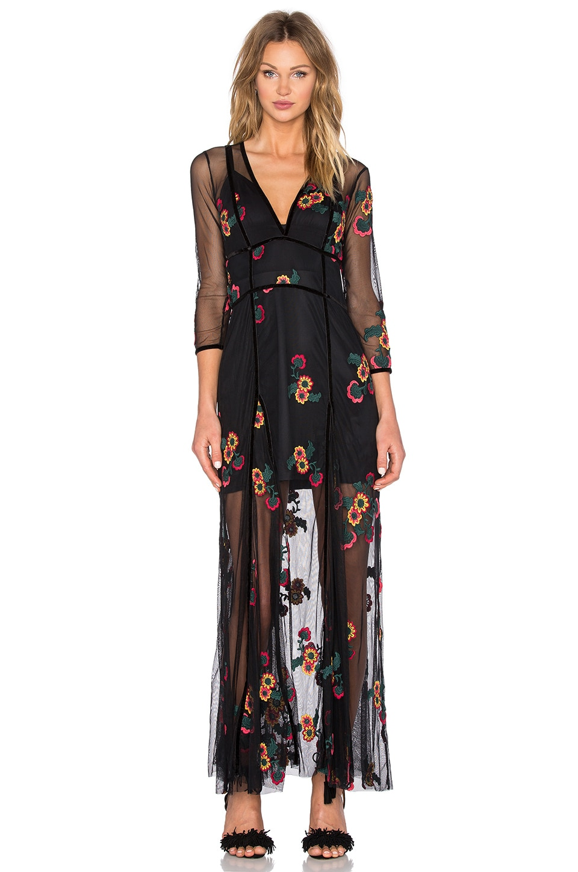 For Love & Lemons Elenora Maxi Dress in Black