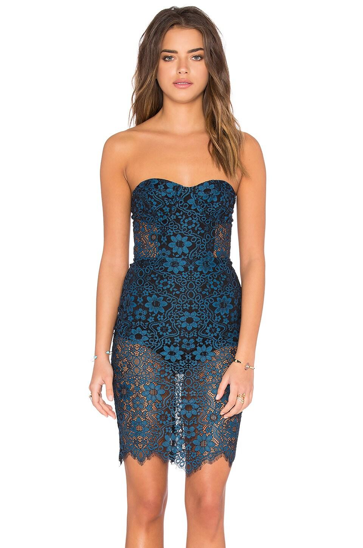 For Love & Lemons Sophia Bustier Dress in Blue & Black