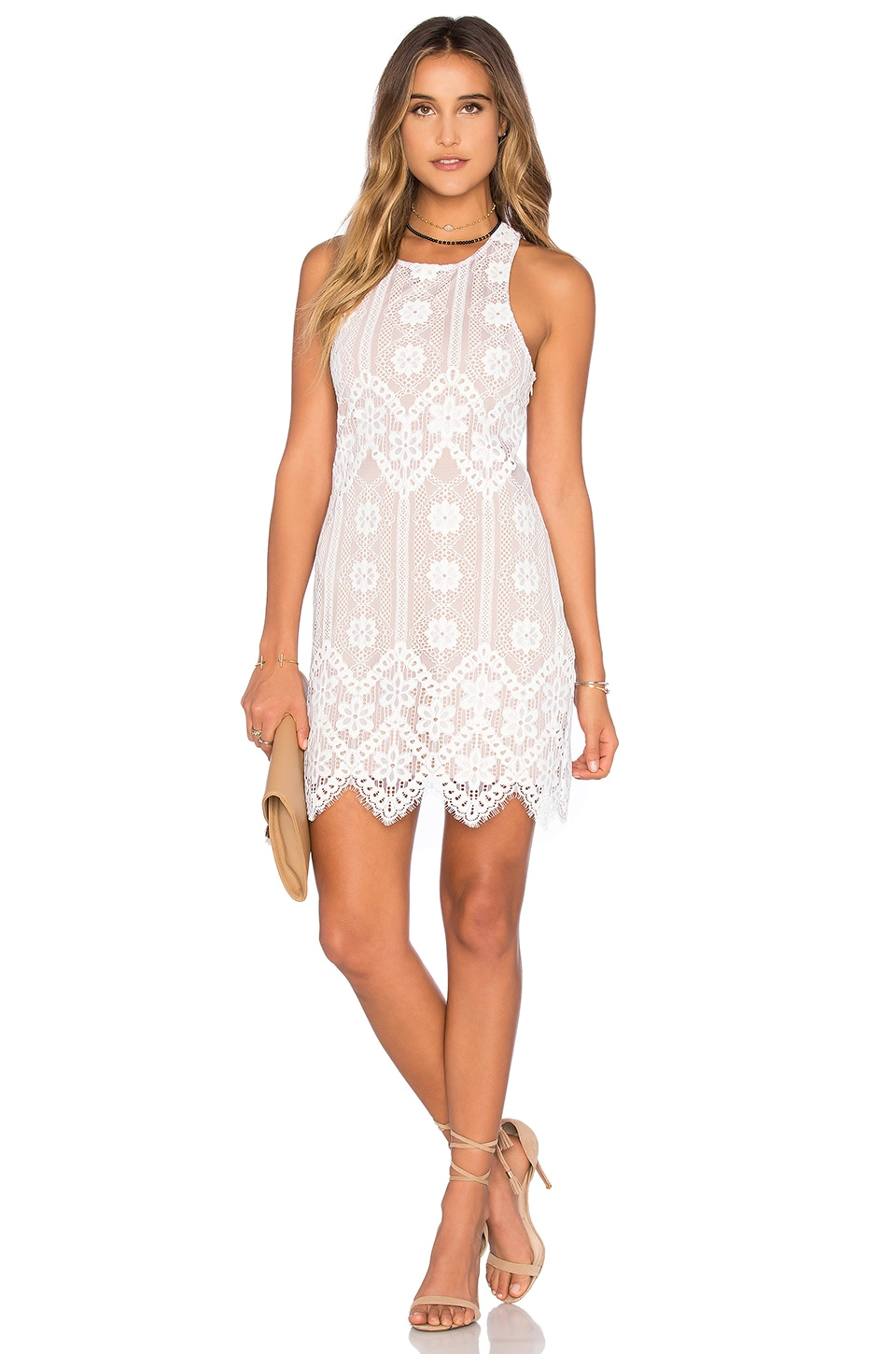 For Love & Lemons x Revolve Dress in White & Nude