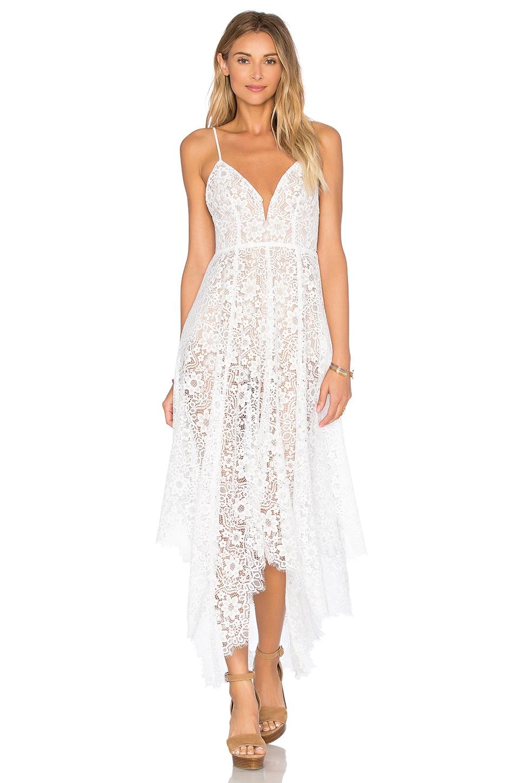 For Love & Lemons Rosemary Midi Dress in Ivory