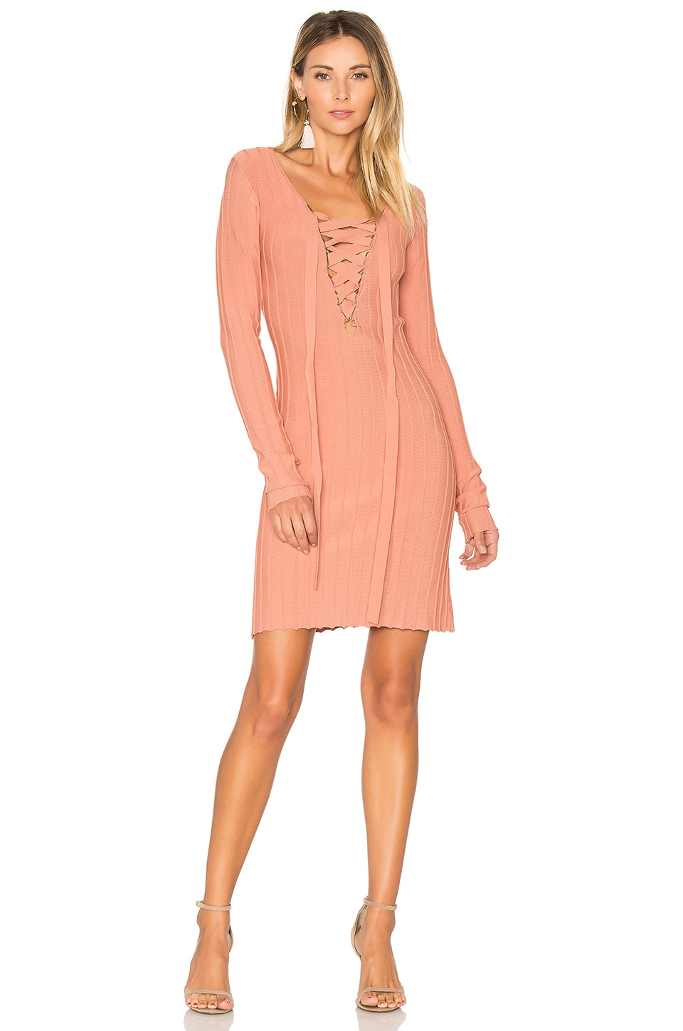 x KNITZ Simone Lace Front Sweater Dress by For Love & Lemons