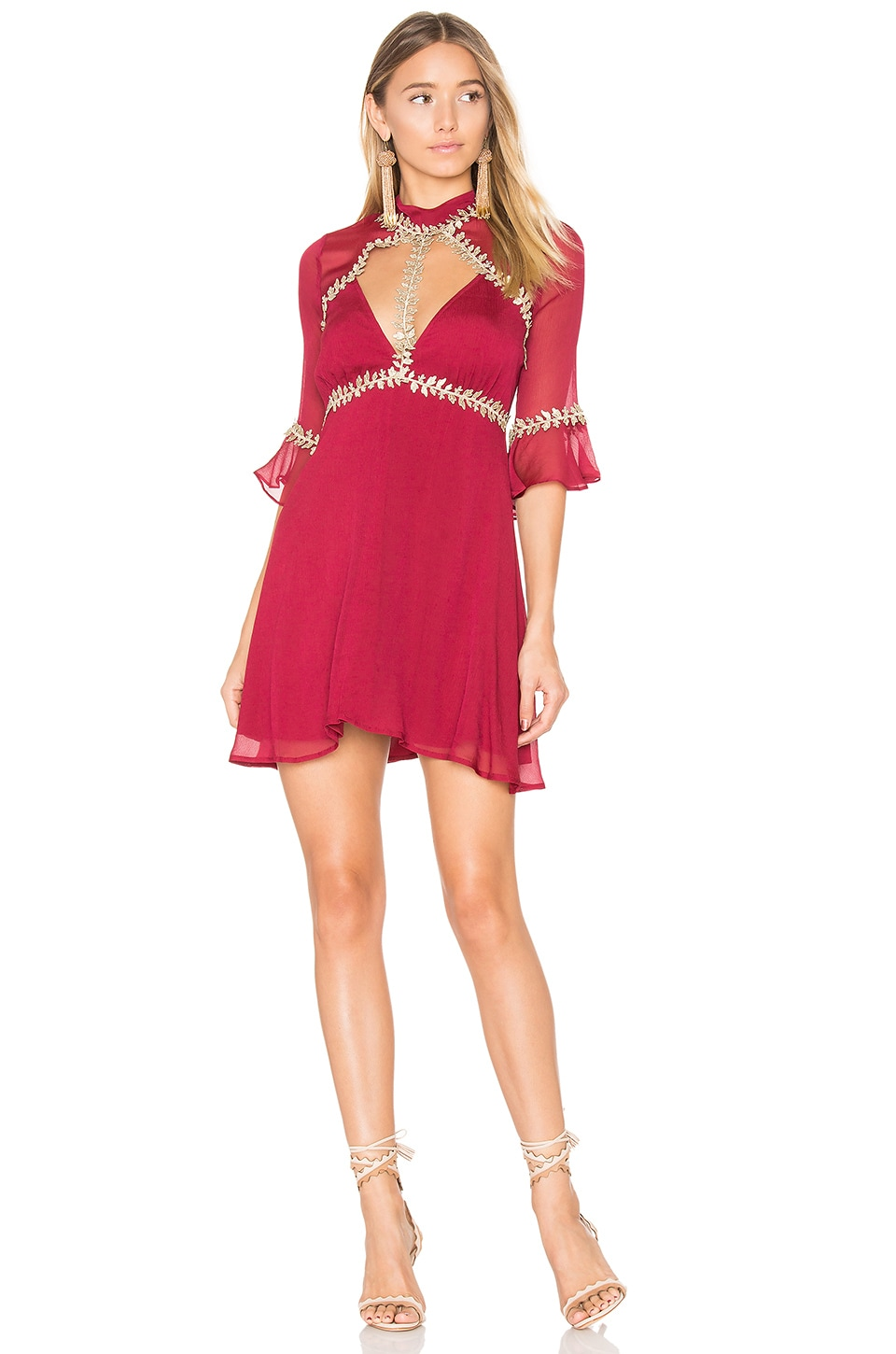 For Love & Lemons Little Mini Dress in Merlot