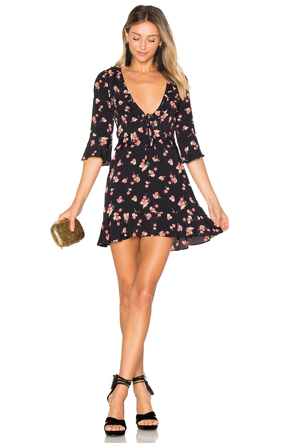 For Love & Lemons Cherry Sundress in Cherry Noir