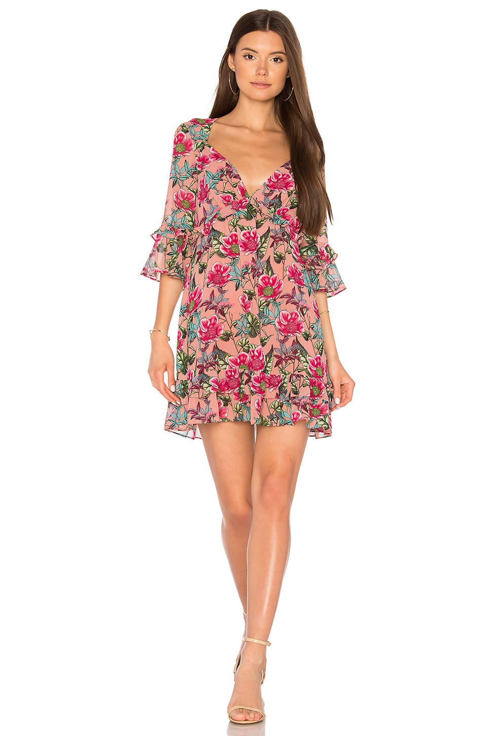 For Love & Lemons Churro Mini Dress in Pink Flamenco