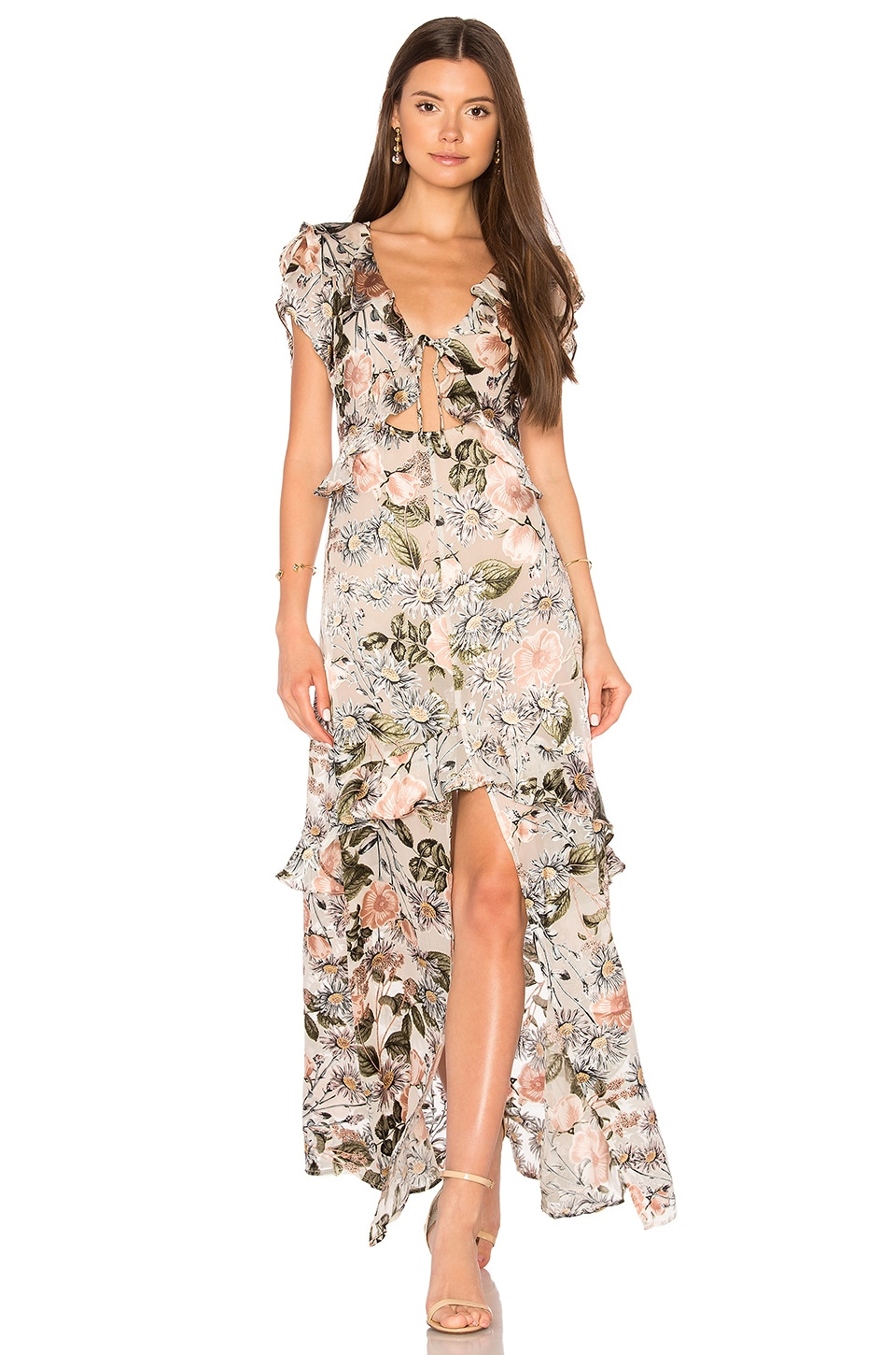 For Love & Lemons Luciana Maxi Dress in Ivory Floral