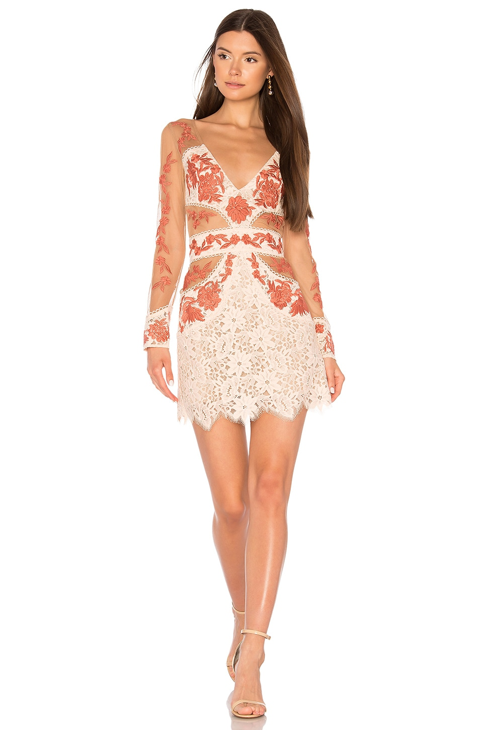 For Love & Lemons Matador Tulle Dress in Melon