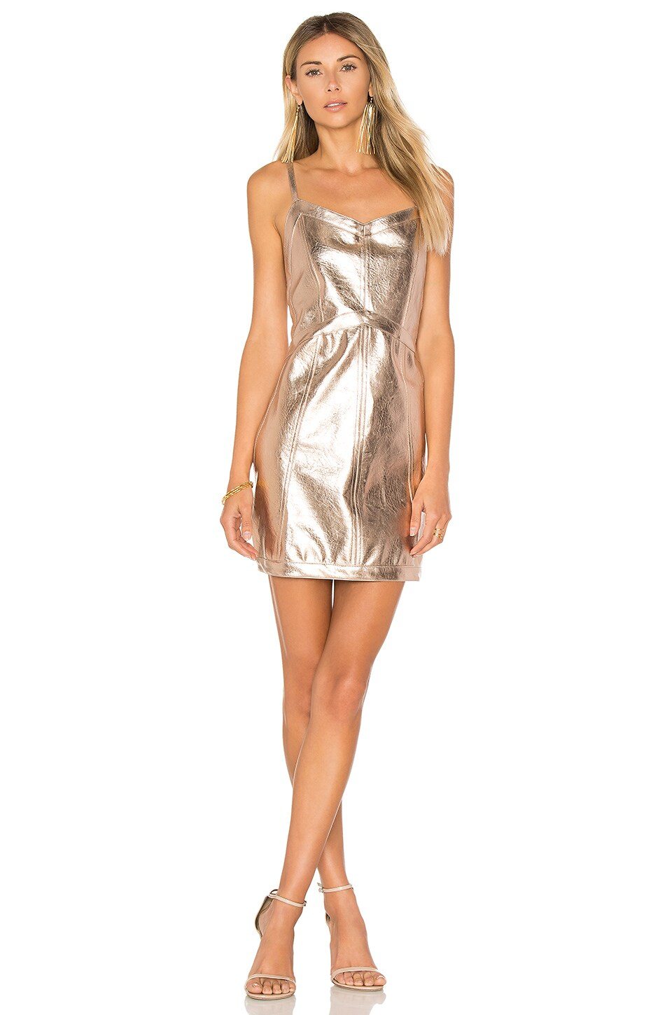 For Love & Lemons Luna Metallic Dress in Gold Metallic