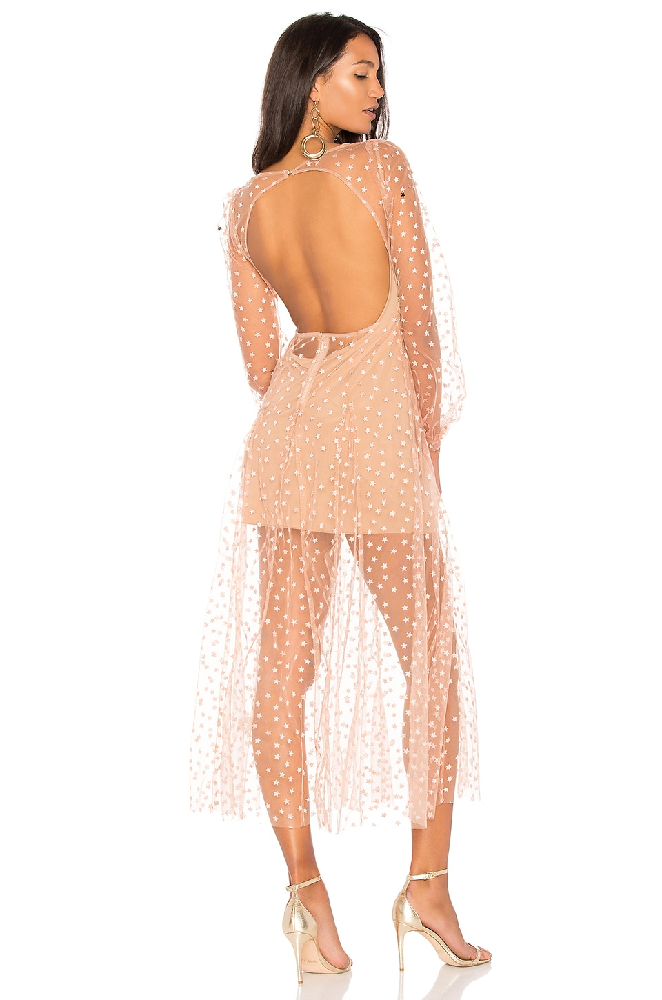 For Love & Lemons All That Glitters Maxi in Almond