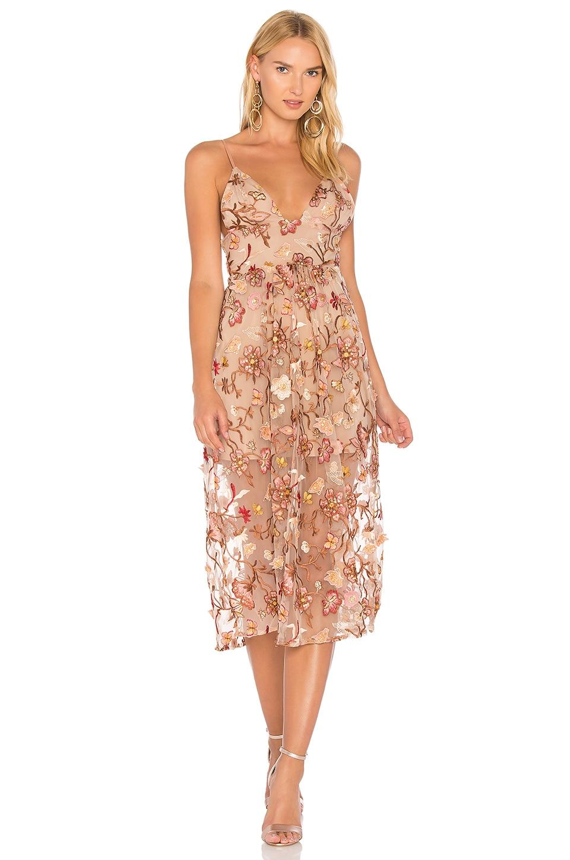For Love & Lemons Botanic Midi Dress in Nude Floral