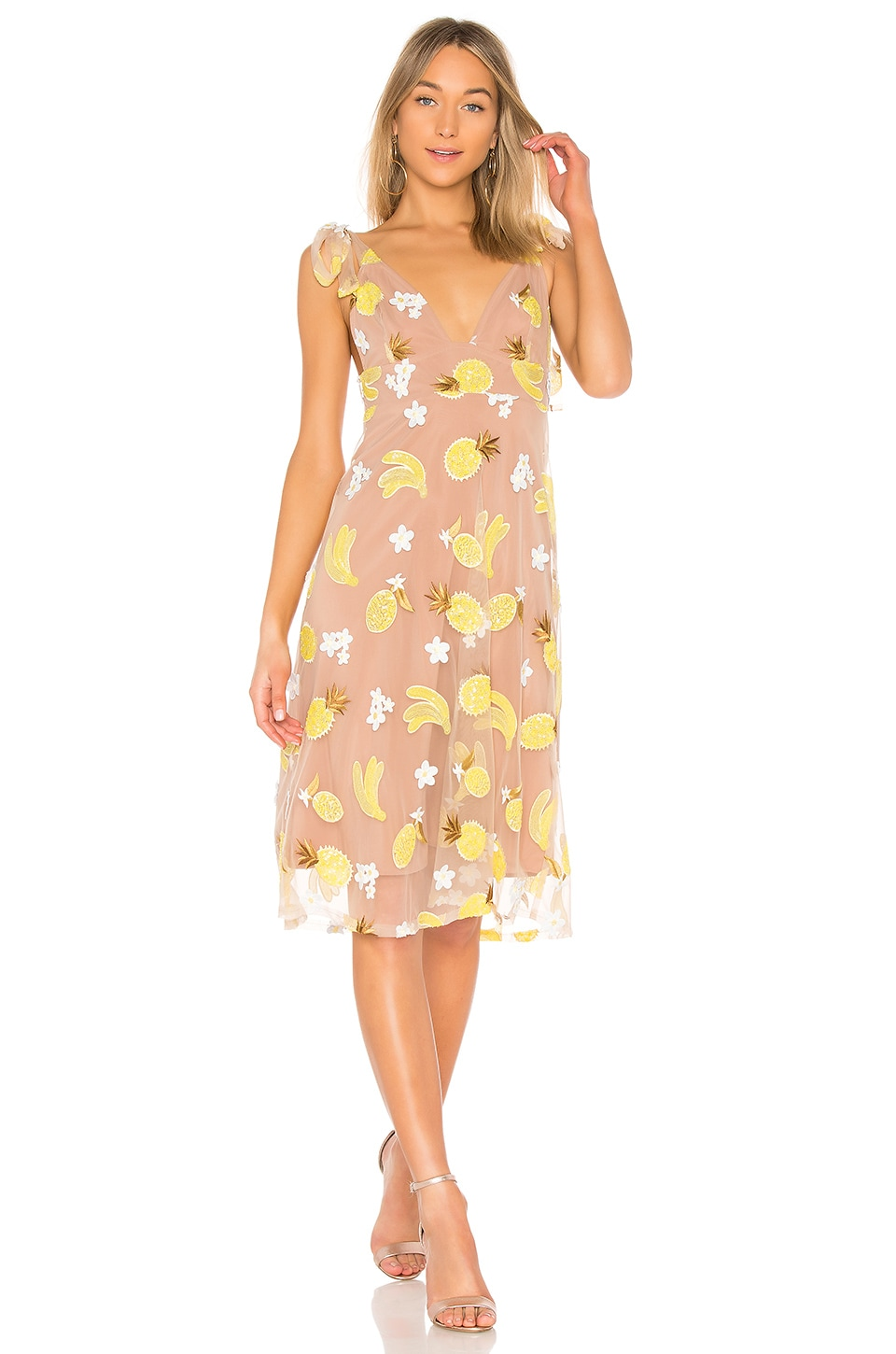 For Love & Lemons Fruitpunch Sequin Midi Dress in Pineapple