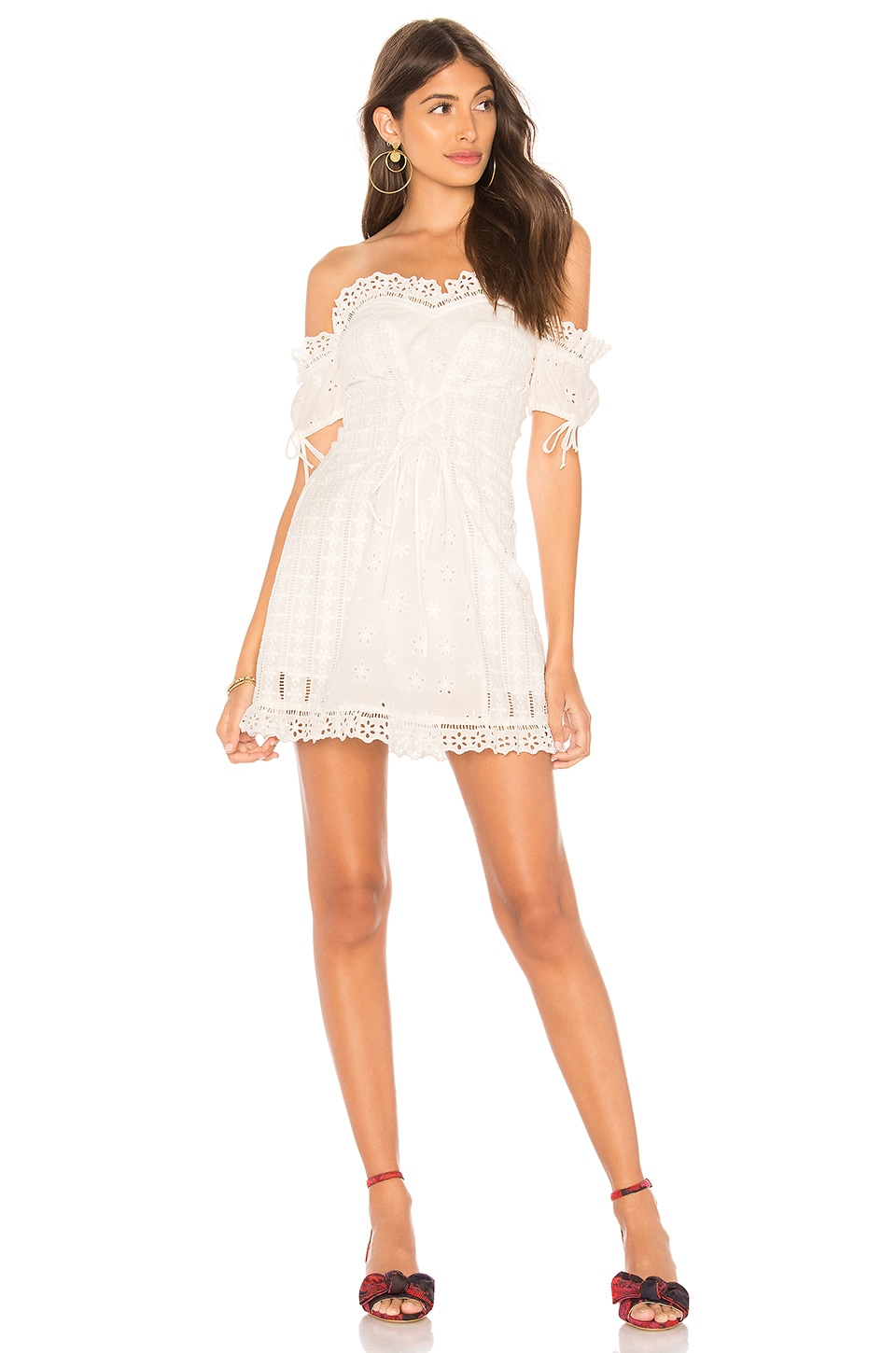 For Love & Lemons Anabelle Eyelet Lace Up Dress in White