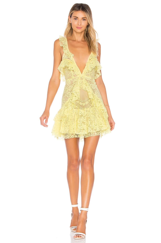 For Love & Lemons Tati Lace Ruffle Dress in Lemon