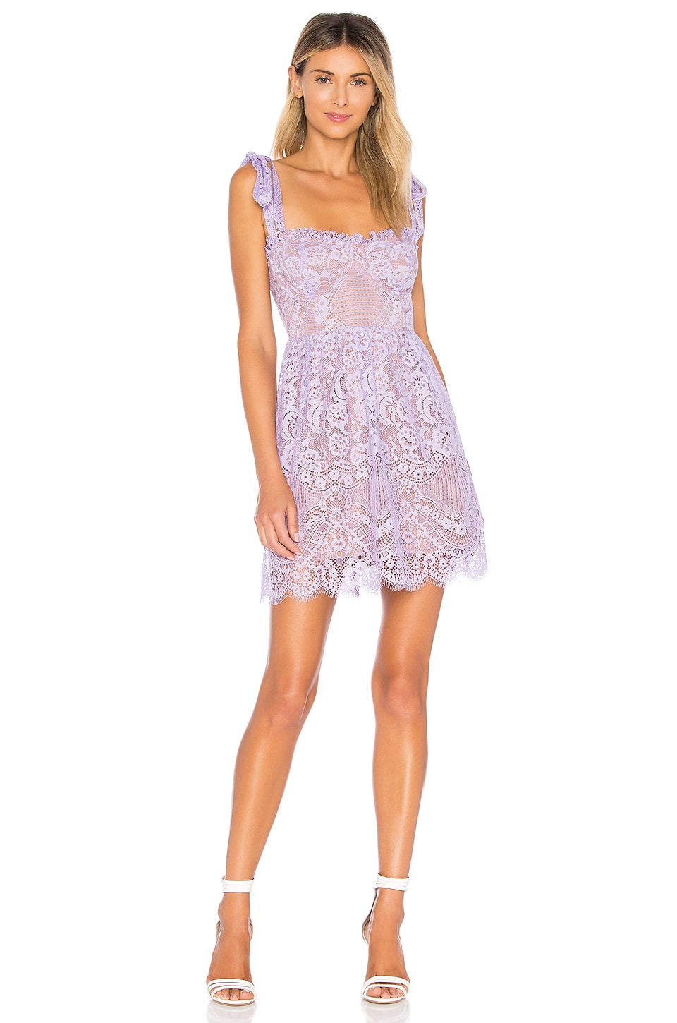 For Love & Lemons Valentina Lace Mini Dress in Lavender