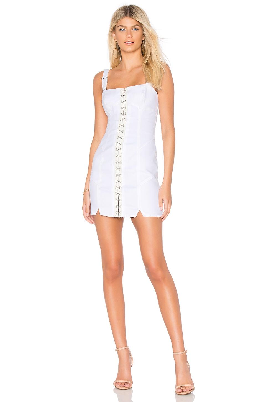 For Love & Lemons Monika Hook Front Mini Dress in White Denim