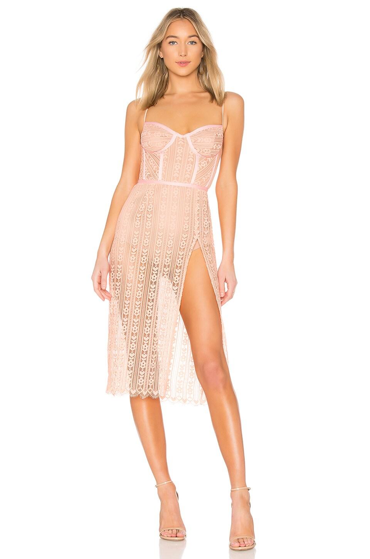 For Love & Lemons Dakota Lace Midi Dress in Peach