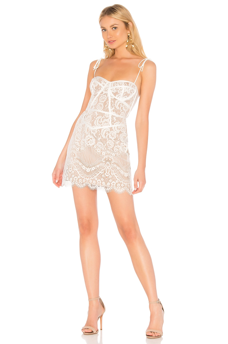 For Love & Lemons Tati Lace Corset Dress in White