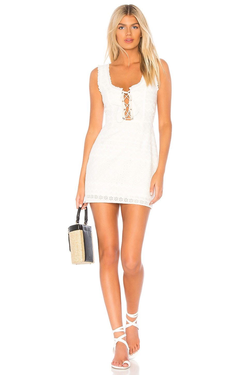 CHARLOTTE EYELET LACE UP MINI DRESS from REVOLVE