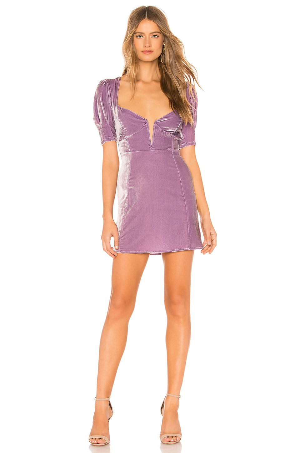 For Love & Lemons FOR LOVE & LEMONS VIVA VELVET MINI DRESS IN LAVENDER.