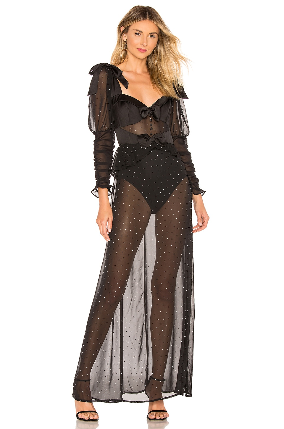 For Love & Lemons Lucky Dice Maxi Dress in Twilight