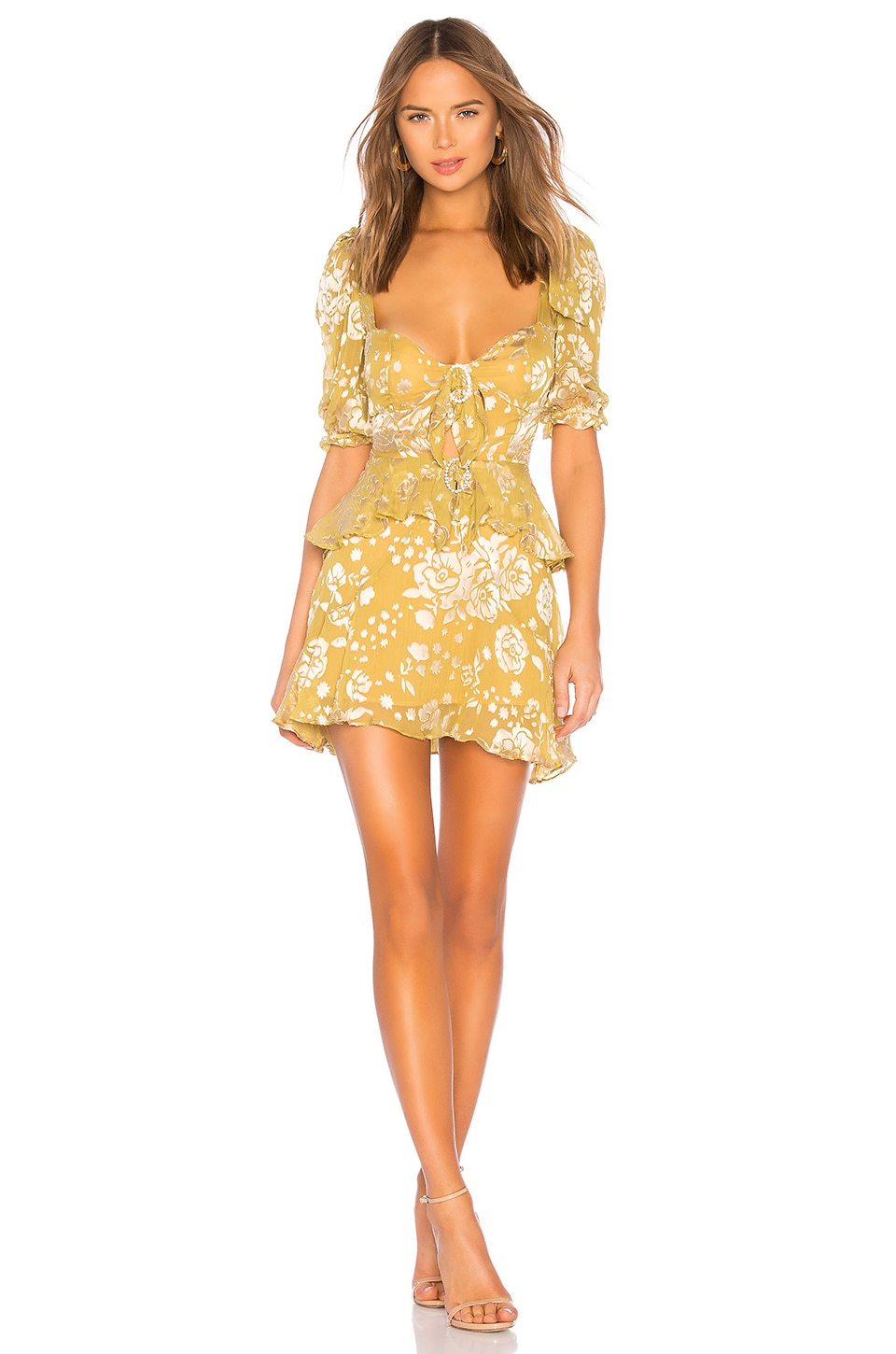 For Love & Lemons Cosmo Mini Dress in Mustard