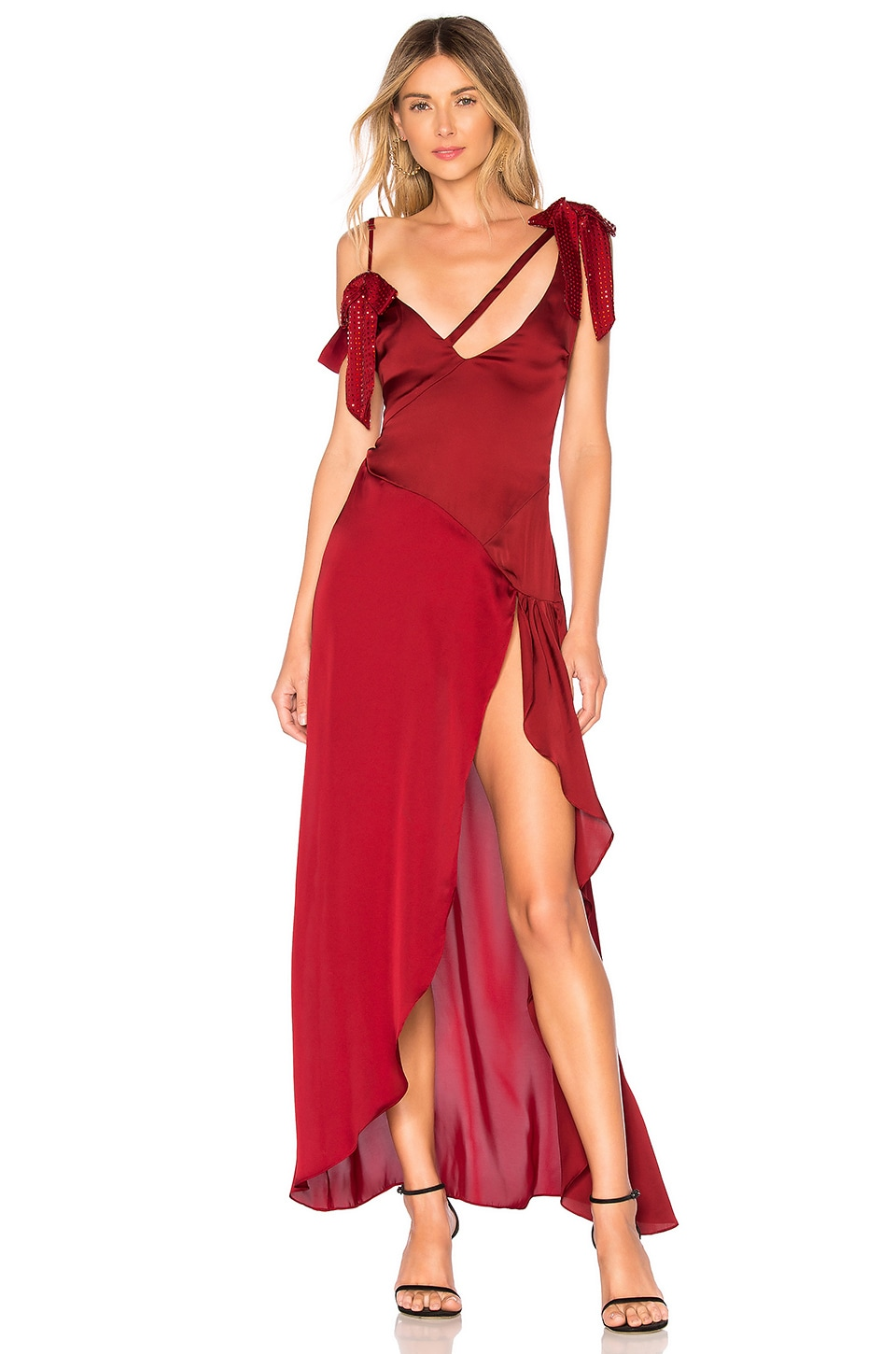 For Love & Lemons Bright Lights Maxi Dress in Red