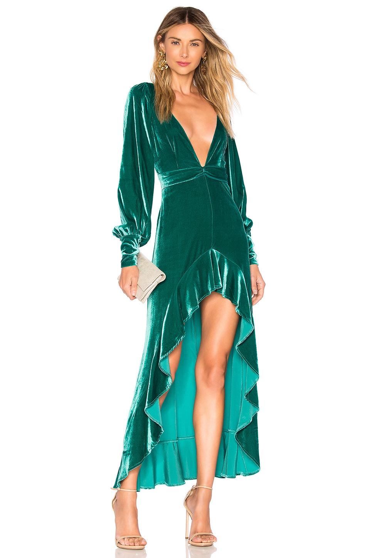 For Love & Lemons Viva Velvet Maxi Dress in Emerald