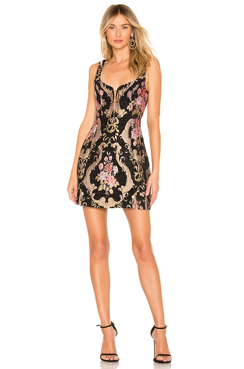 For Love & Lemons FOR LOVE & LEMONS BROCADE TAPESTRY MINI DRESS IN BLACK.