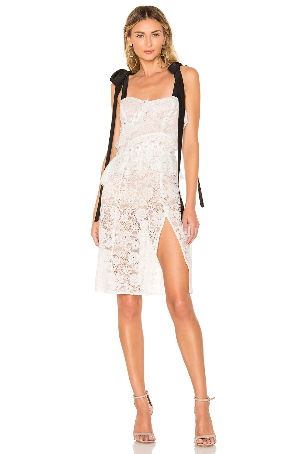 For Love & Lemons Fabienne Midi Dress in White