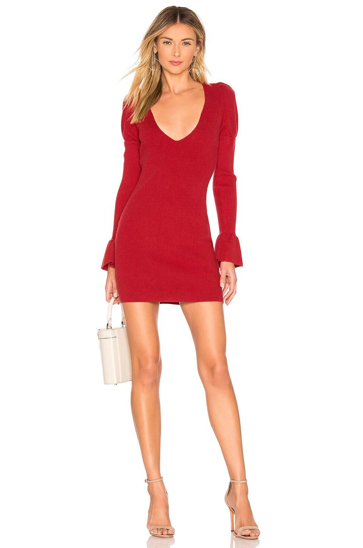 For Love & Lemons Oxford Long Sleeve Dress in Red