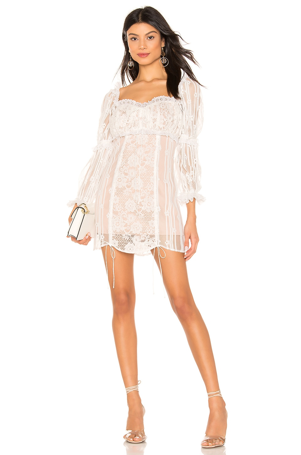 For Love & Lemons Monroe Mini Dress in White