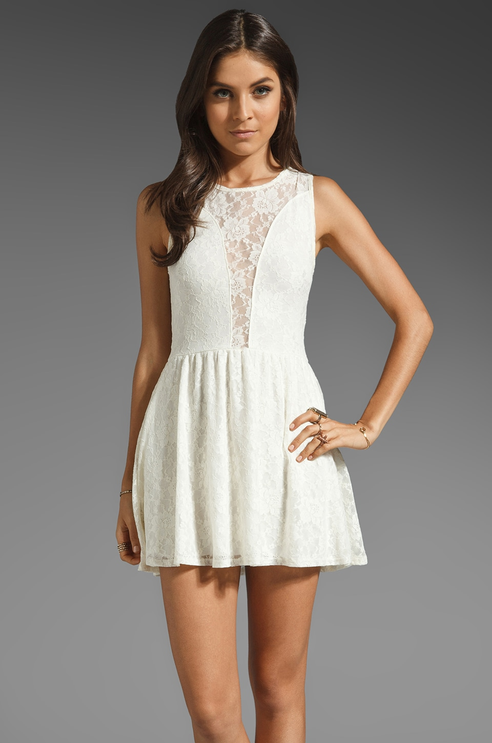 For Love & Lemons Lulu Dress in Off-White