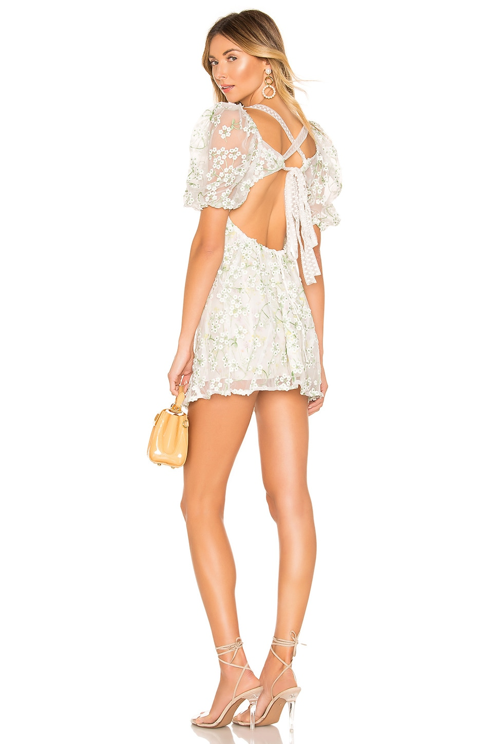 For Love & Lemons Eclair Mini Dress in Ivory Floral
