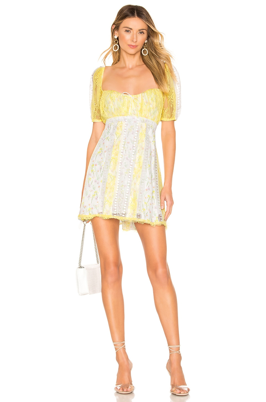 For Love & Lemons Limoncella Mini Dress in Lemon