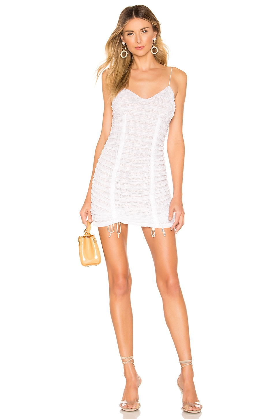 For Love & Lemons Fondant Shirred Mini Dress in White